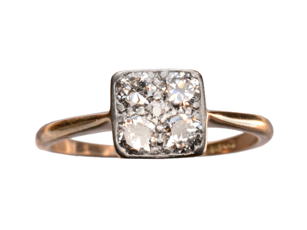 1910s Square Diamond Cluster Ring