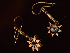 1890s Paste Sunburst Earrings, 10K