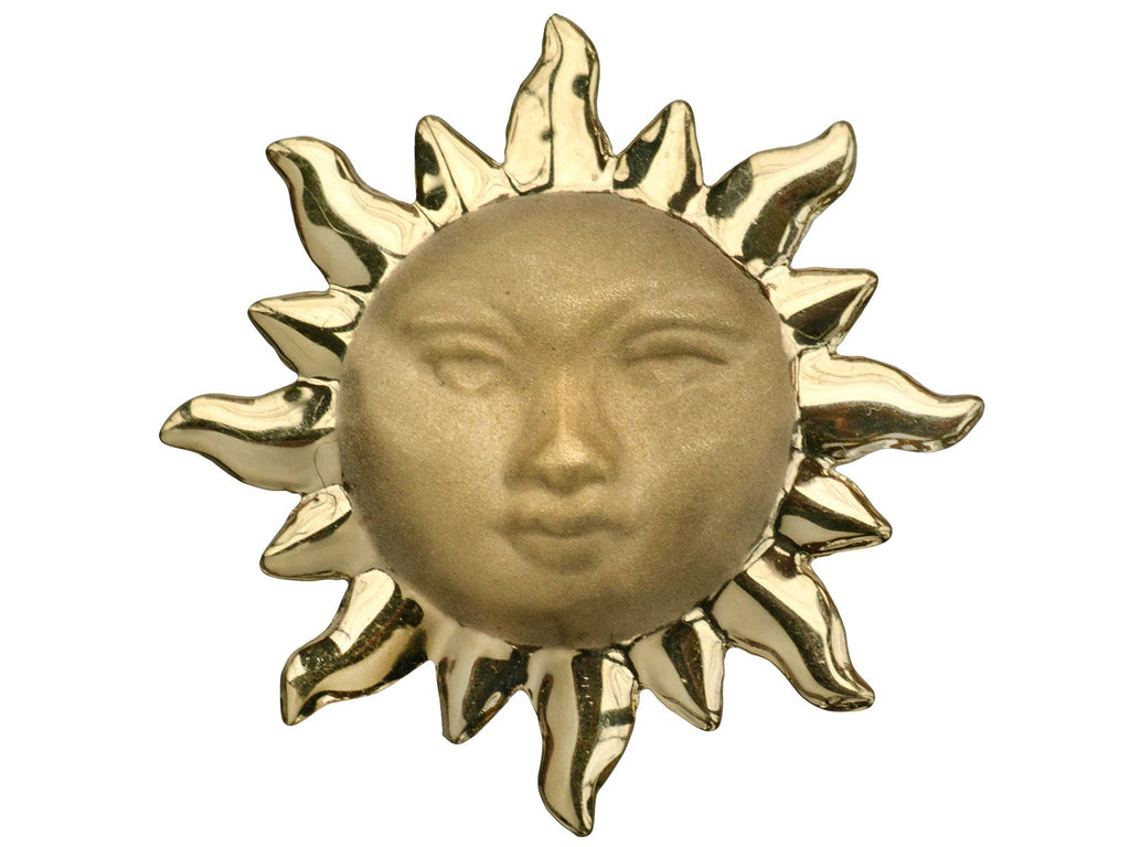 1980s Gold Sun Brooch