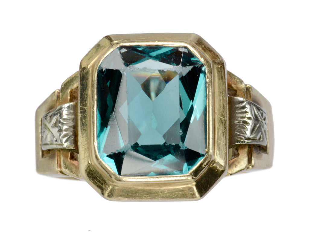 1940s Synthetic Teal Spinel Ring