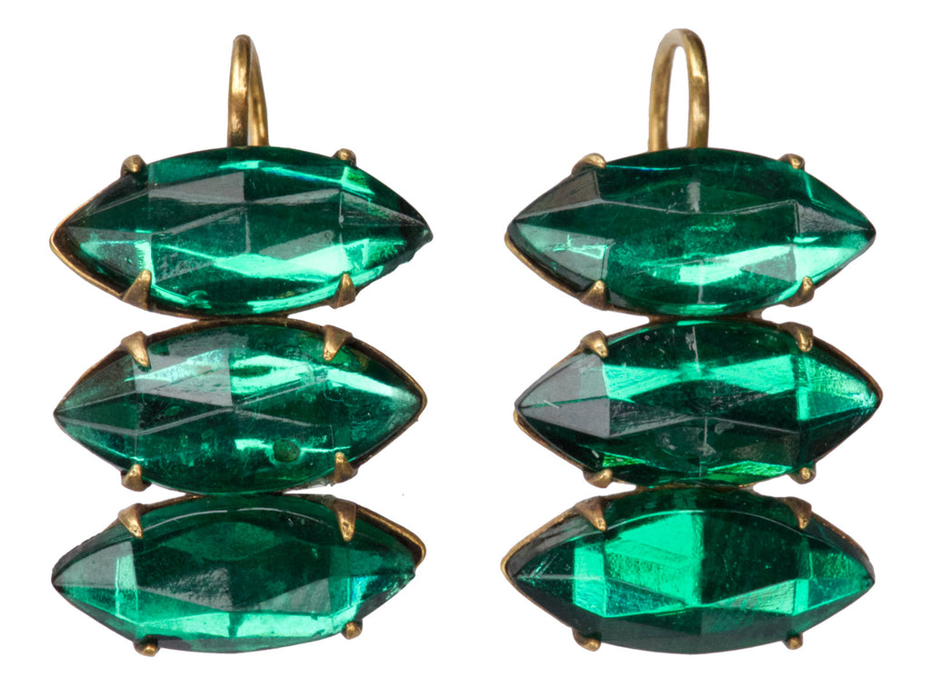 1920s Green Crystal Earrings
