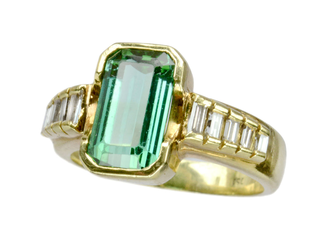 1980s Tourmaline & Diamond Ring
