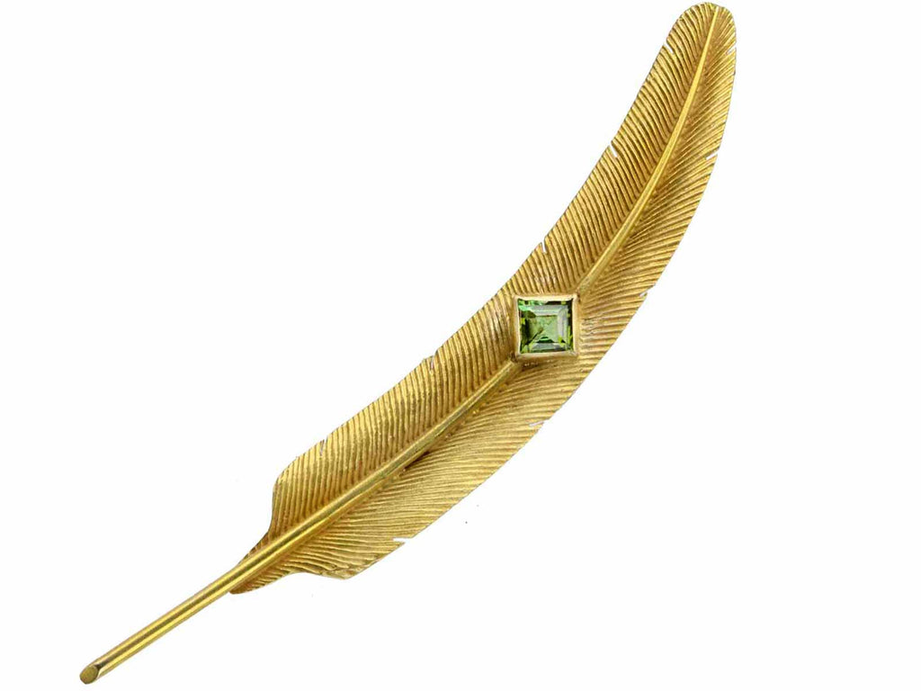 1930s Tourmaline Feather Brooch
