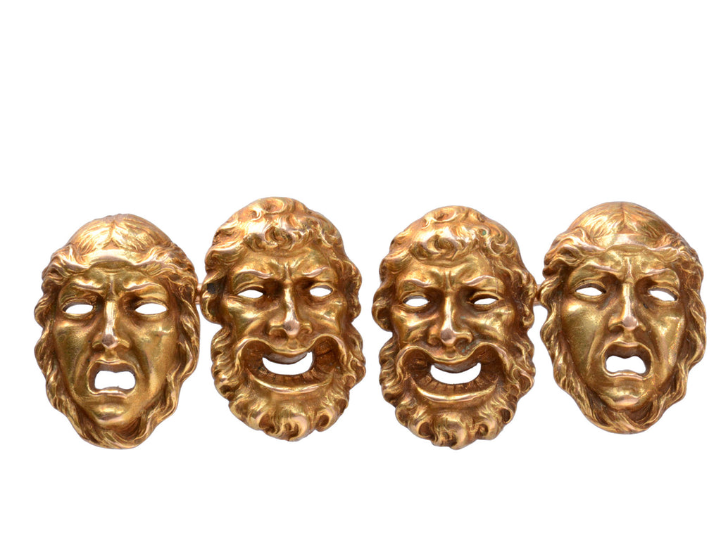 1900s Marcus & Co Theatrical Mask Cufflinks, Comedy and Tragedy