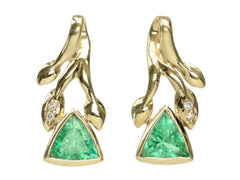 1970s Triangular Emerald Earrings