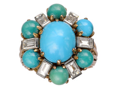 1960s Turquoise & Diamond Cocktail Ring