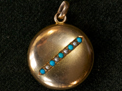 1890s Gold Turquoise Locket