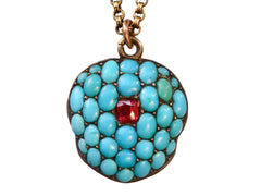 1830s Turquoise Pave Locket Necklace