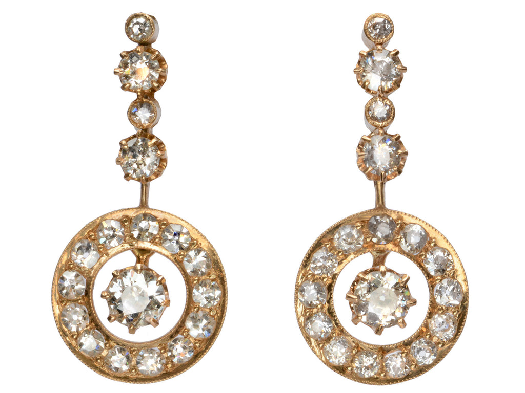 c1900 Diamond Drop Earrings