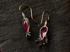c1860 Victorian Ruby Earrings