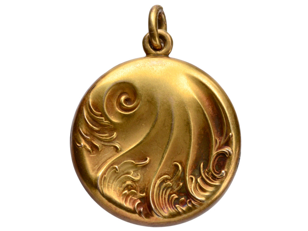 1900s Art Nouveau Wave Locket