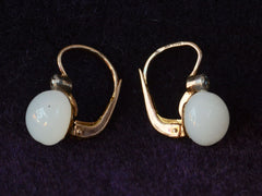 1920s French White Jade Earrings