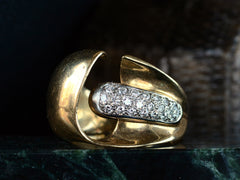 1980s Italian Wide Diamond Ring