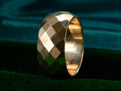1940s Wide Faceted Gold Band