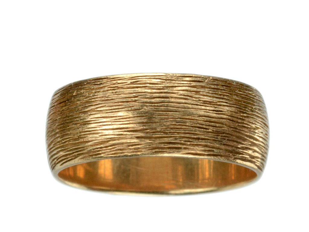 1940-50s Wide Striped 14K Gold Band