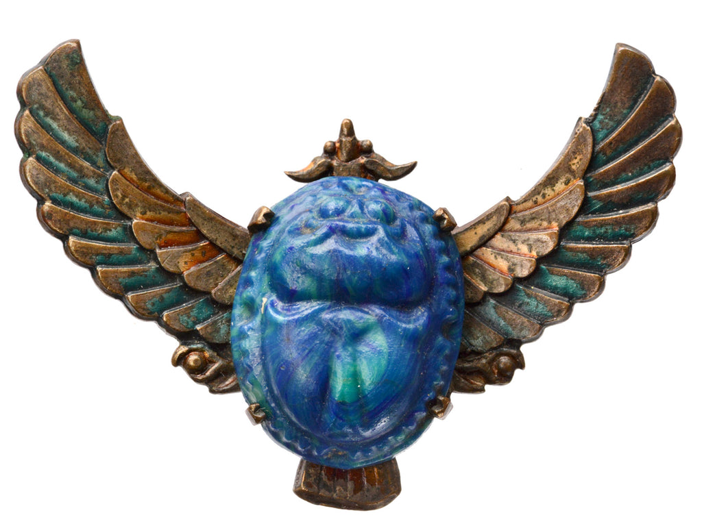 1920s Egyptian Revival Winged Scarab Brooch