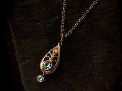 1920s Blue Zircon & Diamond Pendant