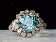 1920s Blue Zircon & Diamond Ring