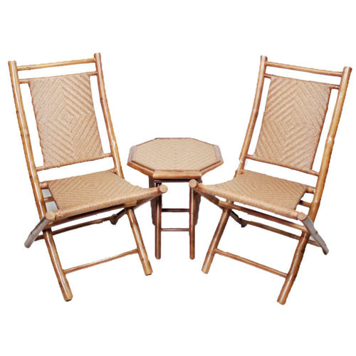 Natural Bamboo Diamond Weave 2 Chairs and a Table Bistro Set (36')