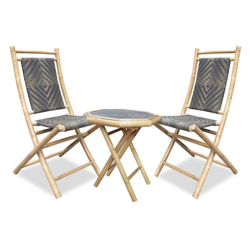 Natural Bamboo Resin Weave 2 Chairs and a Table Bistro Set (36')