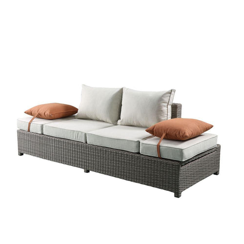 2Pc Beige Fabric And Gray Wicker Patio Sofa And Ottoman Set (83