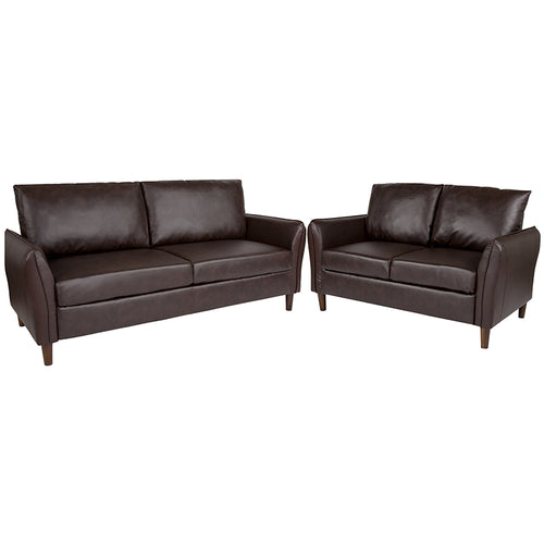 Brown Loveseat and Sofa Set