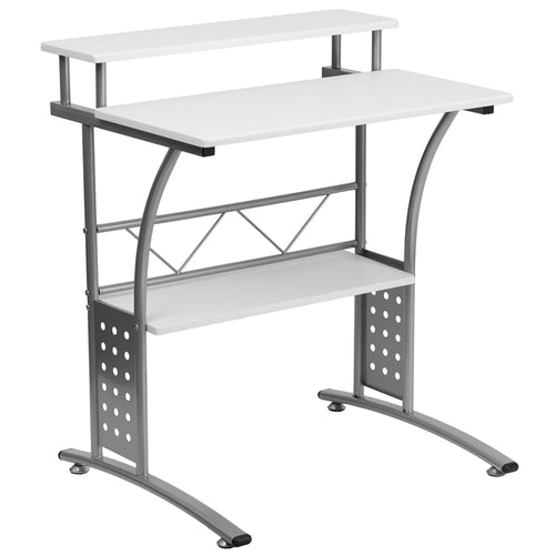 White Perforated Panel Desk
