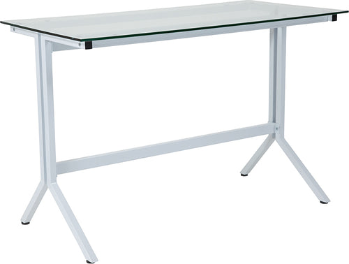 Glass Desk with White Base