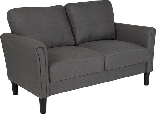 Dark Gray Fabric Loveseat