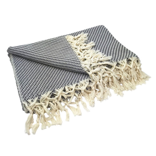 Gray Turkish Weave Throw Blanket