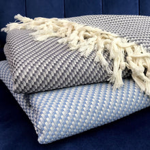 Load image into Gallery viewer, Blue Turkish Weave Throw Blanket