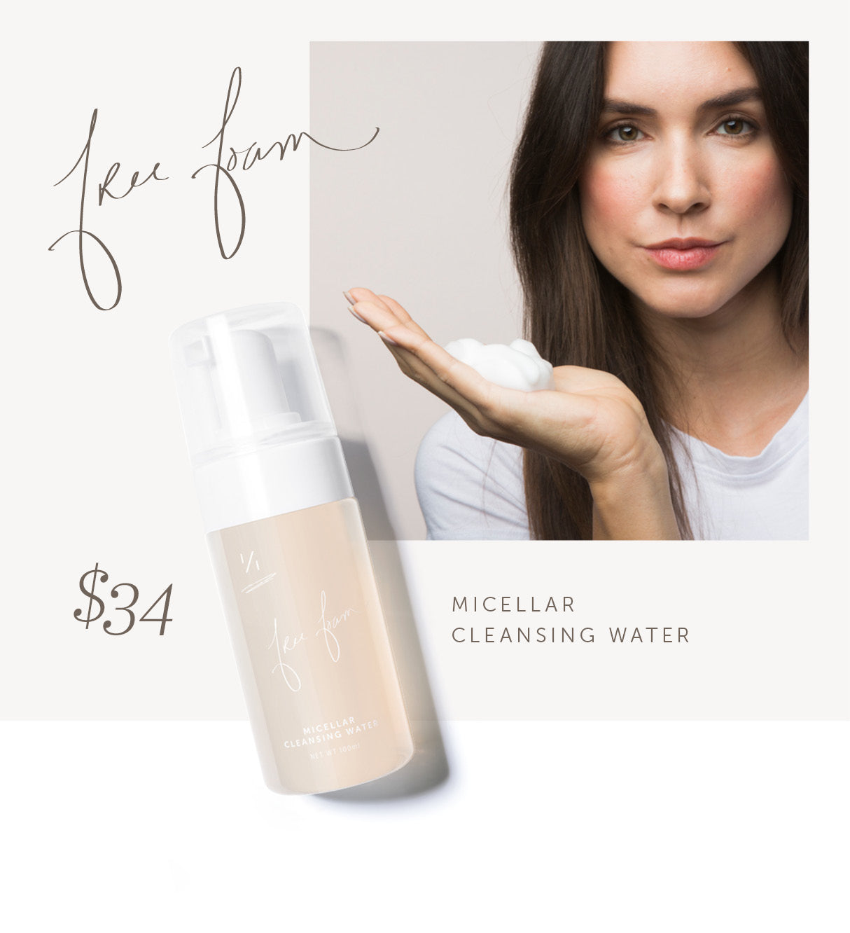 Free Foam Natural Micellar Water Facial Cleanser by One Over One™ Natural Cosmetics