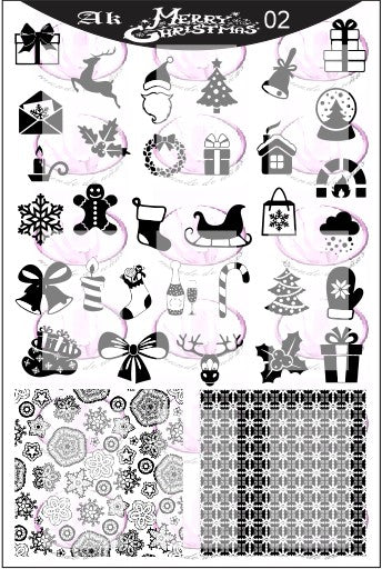 AK Merry Christmas 02 Stamping plate