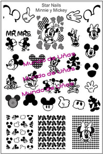 AK (STAR NAILS) MINNIE & MICKEY COLLECTION stamping plate