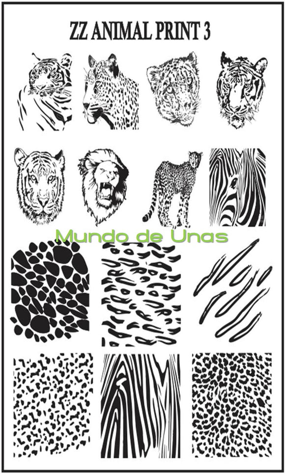 ZZ ANIMAL PRINT 3 stamping plate