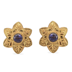 Iolite Flower Stud Earrings
