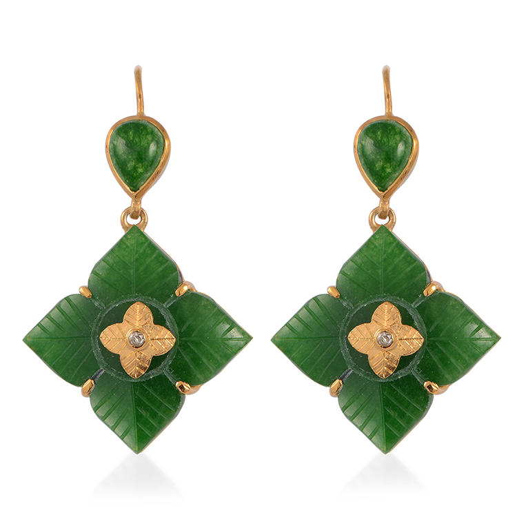 Toyah Aventurine Diamond Earrings