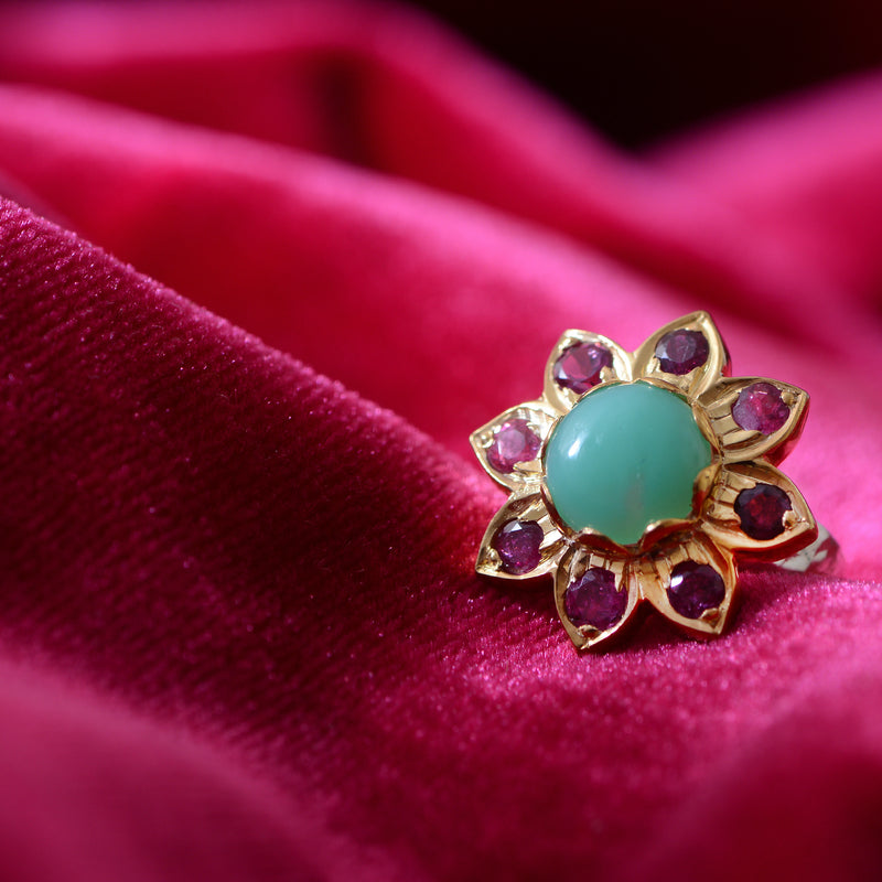 The Nova Chrysoprase Tourmaline Ring
