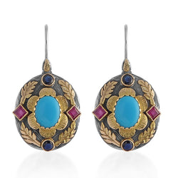 Ishana Turquoise Ruby Sapphire Earrings