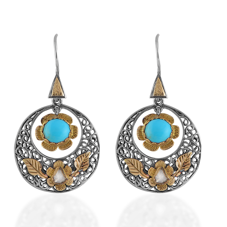 Polki Diamond Turquoise Disc Earrings