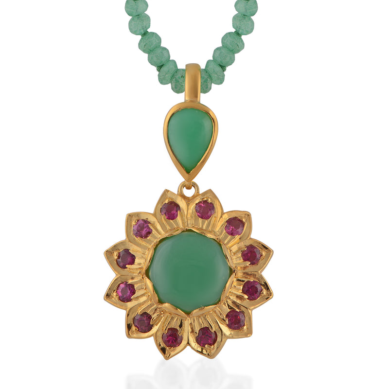 The Nova Chrysoprase Tourmaline Pendant