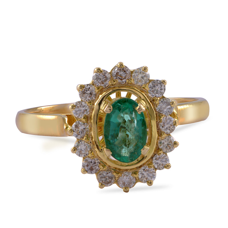 The Emerald Diamond Gold Love Ring