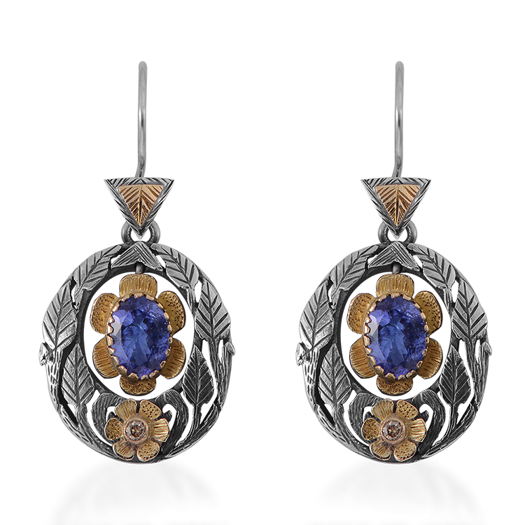 Viola Tanzanite Diamond Earrings