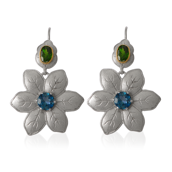 Fleur Blue Topaz Statement Earrings