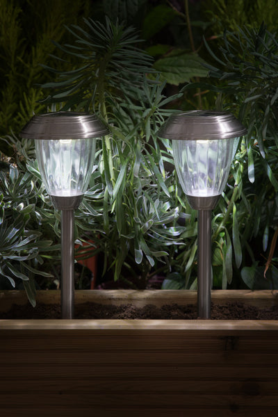 Stainless steel lantern border light twin pack - solar
