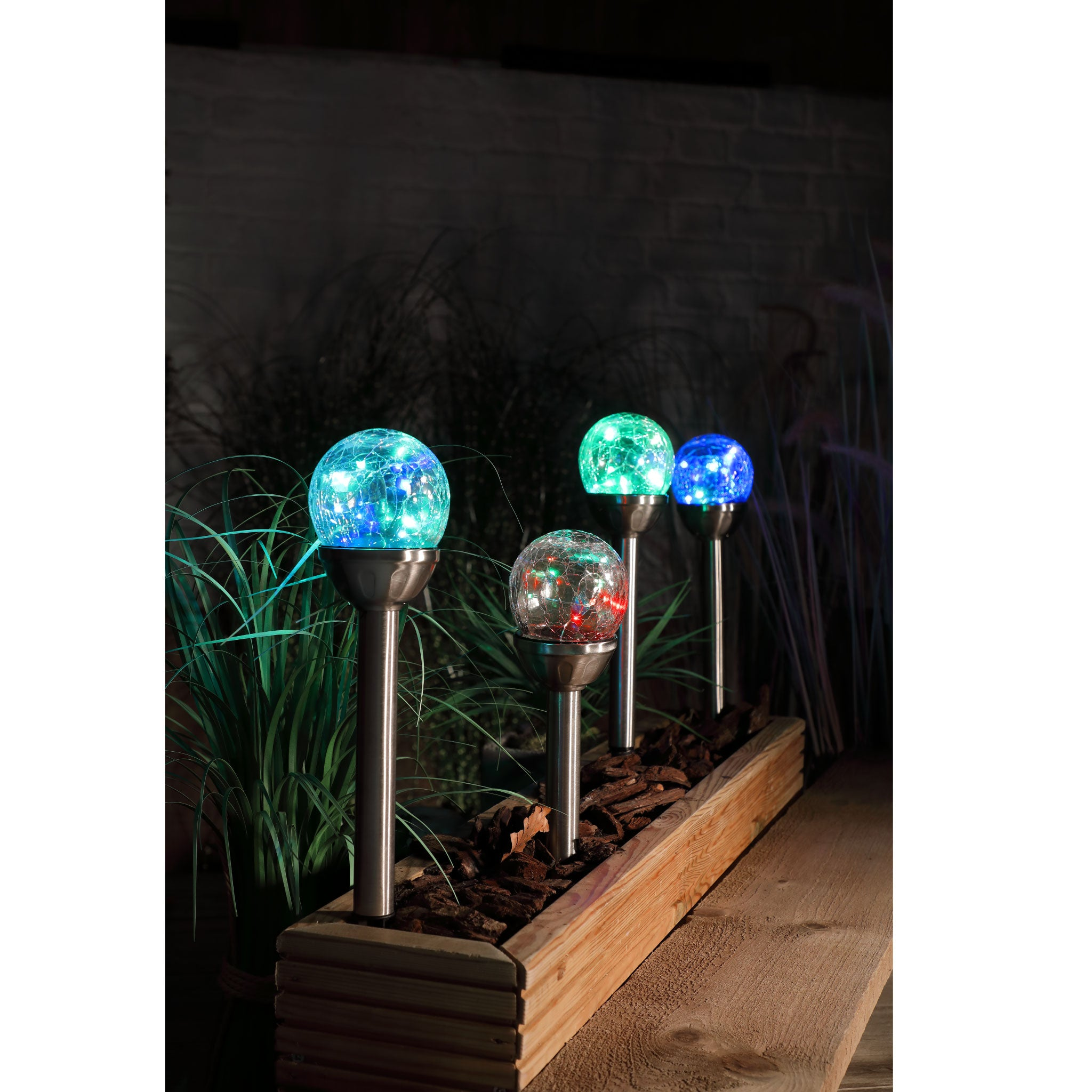 Set of 4 multi colour crackle ball stake lights - solar