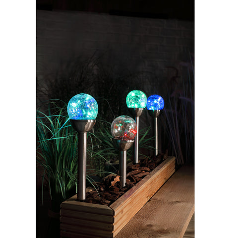 Set of 4 white crackle ball stake lights - solar