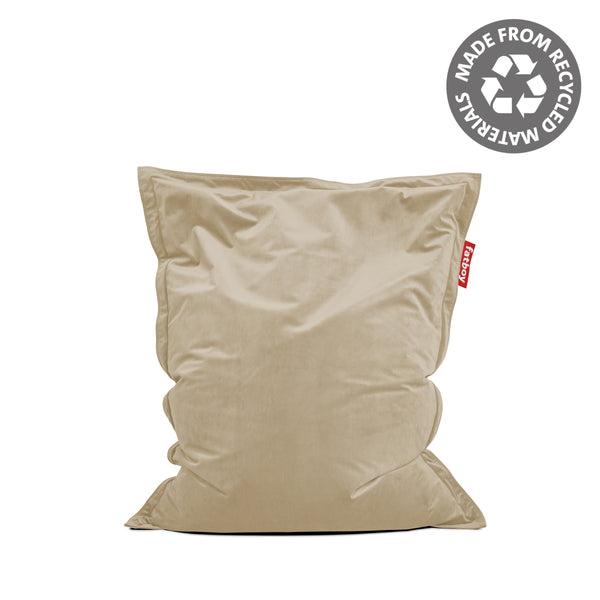 original slim recycled velvet bean bag camel