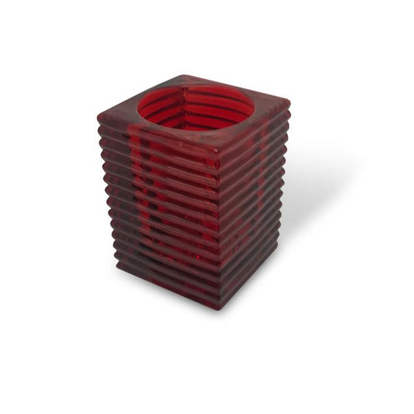 filini rib candle holder red