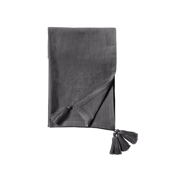 Tassel table cloth grey, 270 x 130 cm